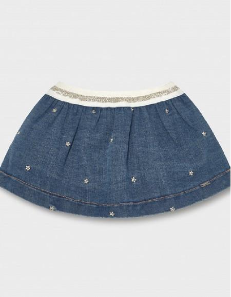 Denim Embroidered Denim Skirt