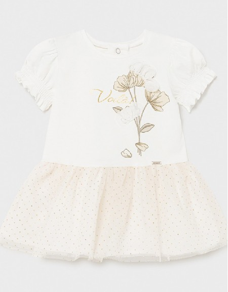 Champagne Baby Dress With Flower