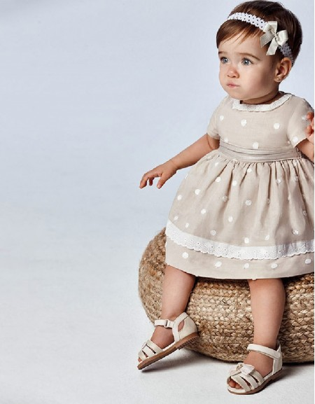 Linen Dotted Embroided Dress