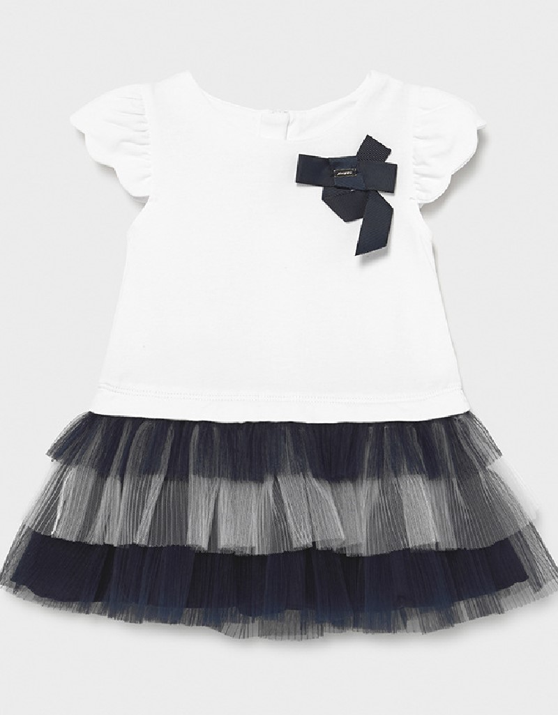Navy Combined Knit And Tulle Dress