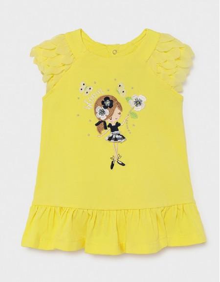 Yellow Knit Ruffle Dress