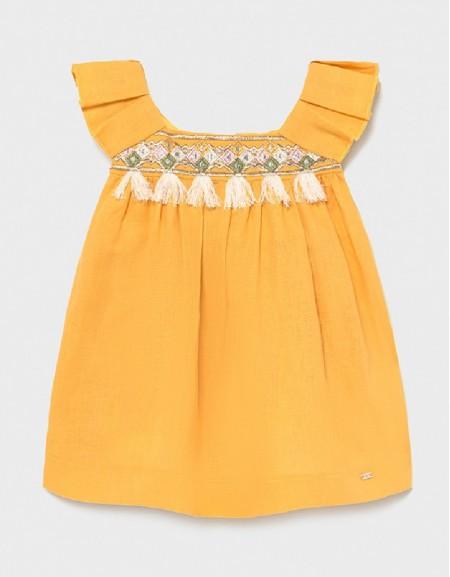 Mustard Embroidered Linen Dress