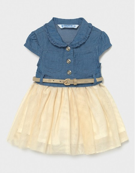 Denim Combined Denim Dress With Tulle