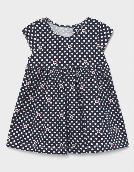 Navy Printed Knit Dress