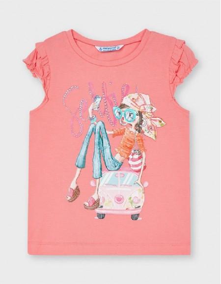 Flamingo Ruffled Sleeve T-Shirt With Doll