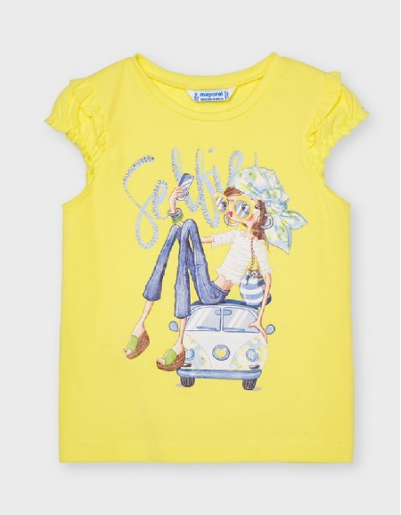 Yellow Ruffled Sleeve T-Shirt With Doll