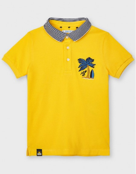 Yellow S/S Embroided Polo