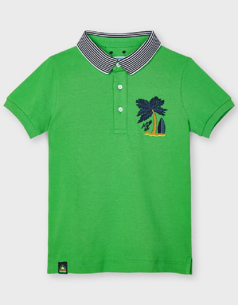 Matcha S/S Embroided Polo