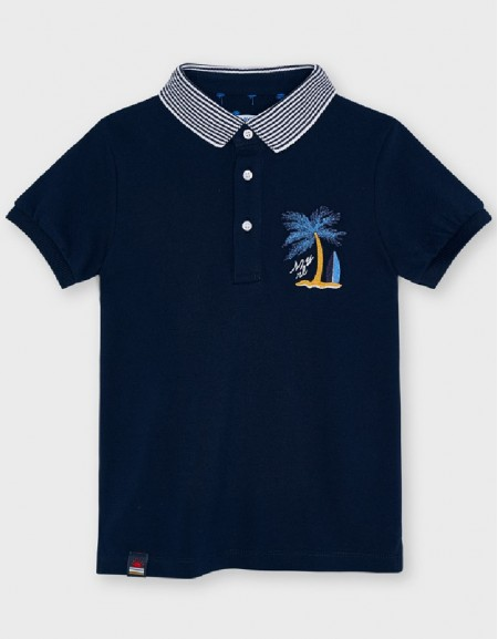 Navy S/S Embroided Polo