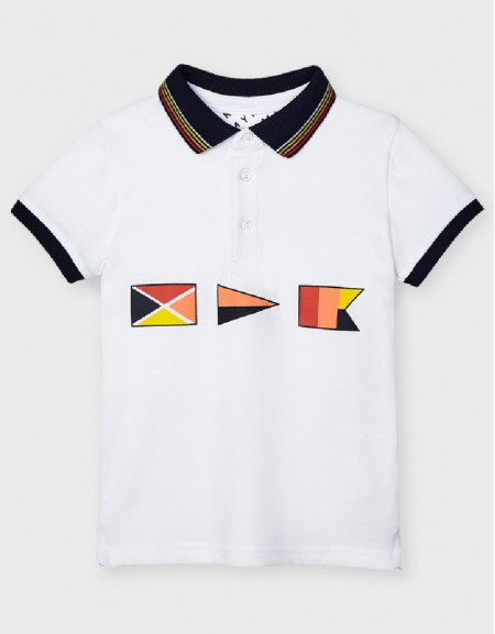 White Printed S/S Polo
