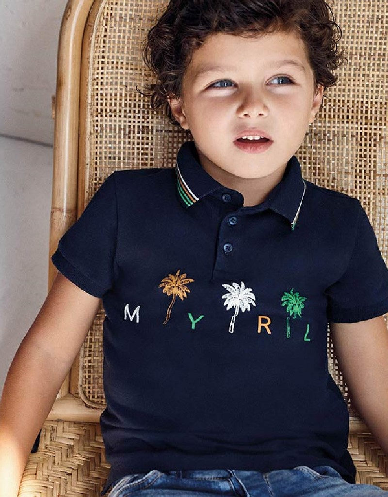 Navy Print Polo For