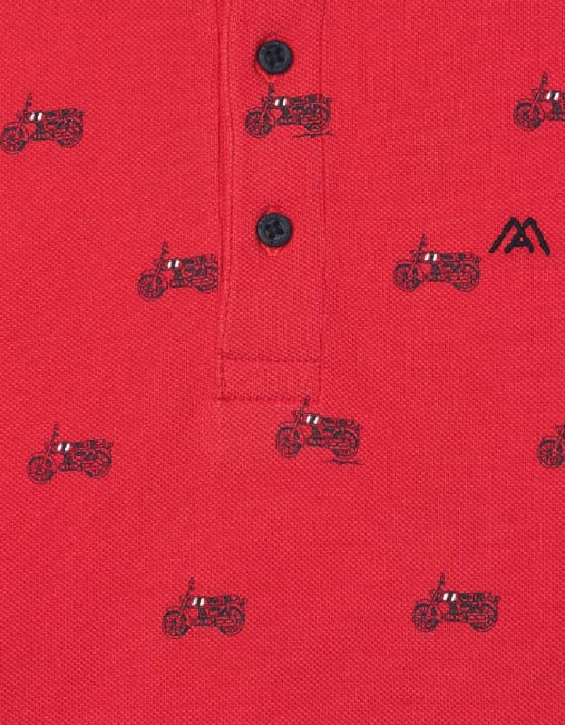 Cyber Red Print Polo