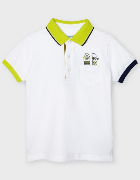 White Polo S/S Print Positioned