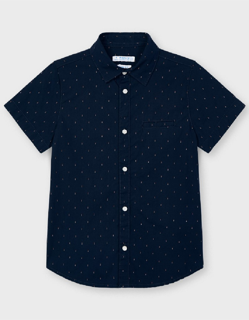 Navy Micropatterned S/S Shirt