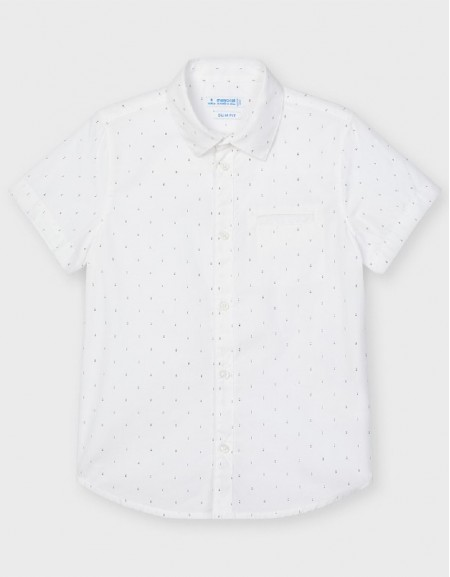 White Micropatterned S/S Shirt