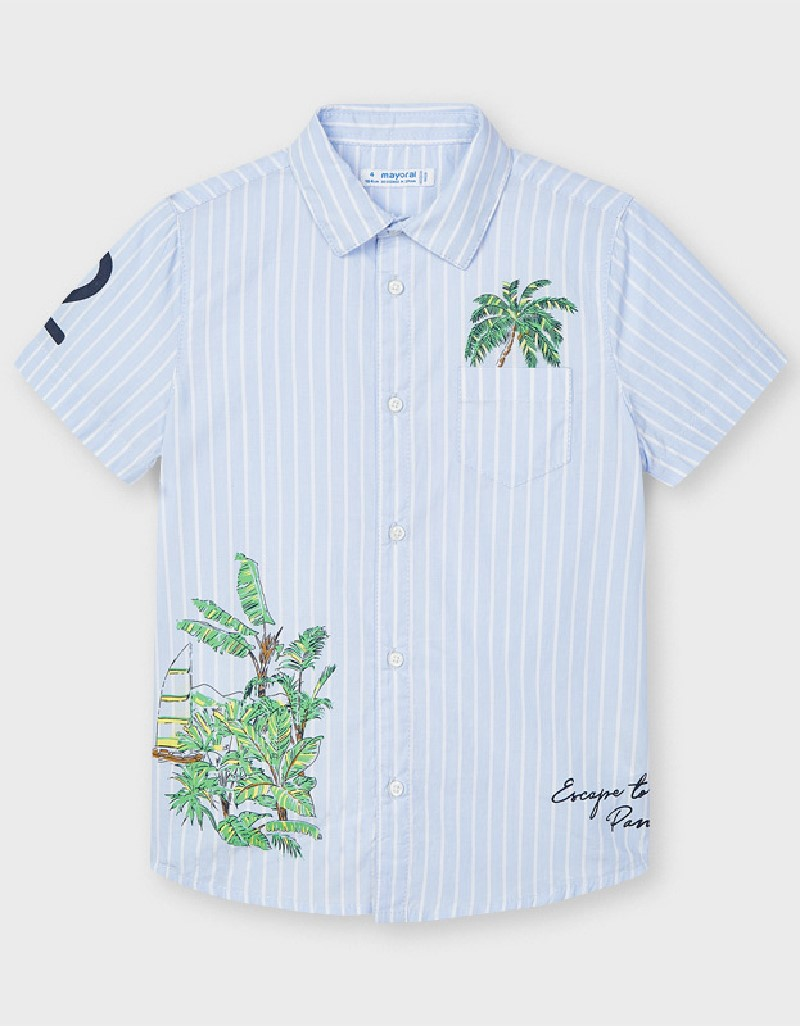 Lightblue Positioned Print Shirt
