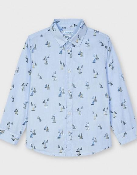 Lightblue Long Sleeved Print Shirt