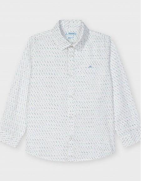 White Microprint Long Sleeved Shirt