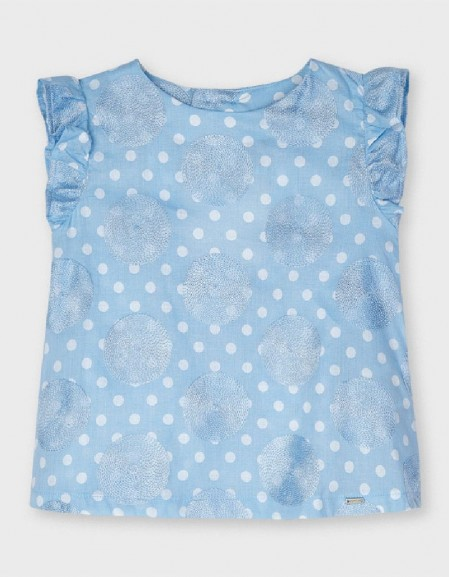 Lightblue Embroided Dots Blouse