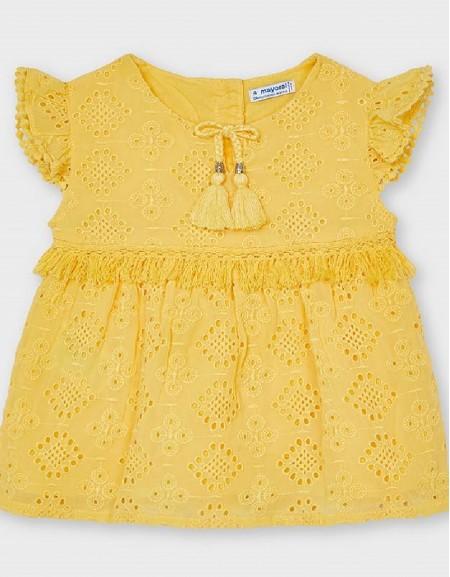 Mustard Chiffon Embroidered Blouse