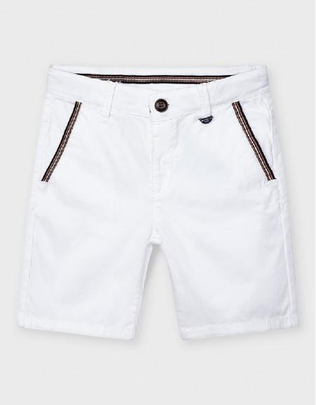 White Herringbone Shorts