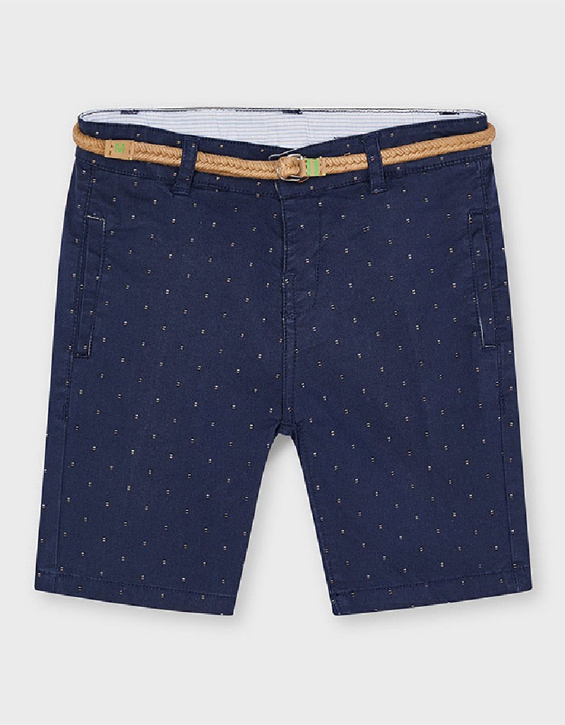 Navy Printed Shorts With Belt