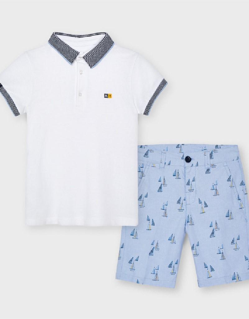 Lightblue Printed Shorts Set