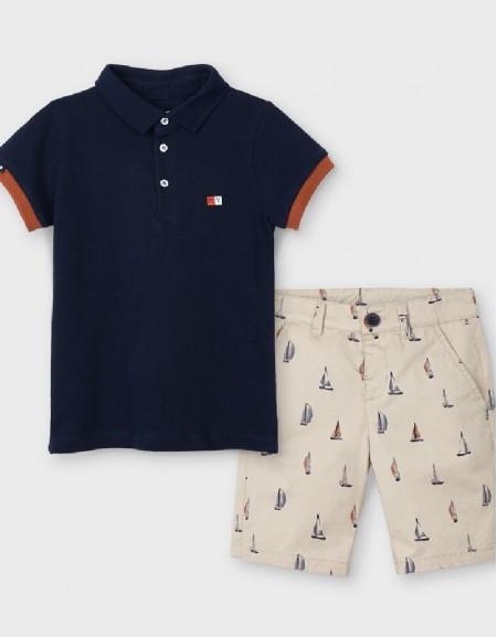 Latte Printed Shorts Set