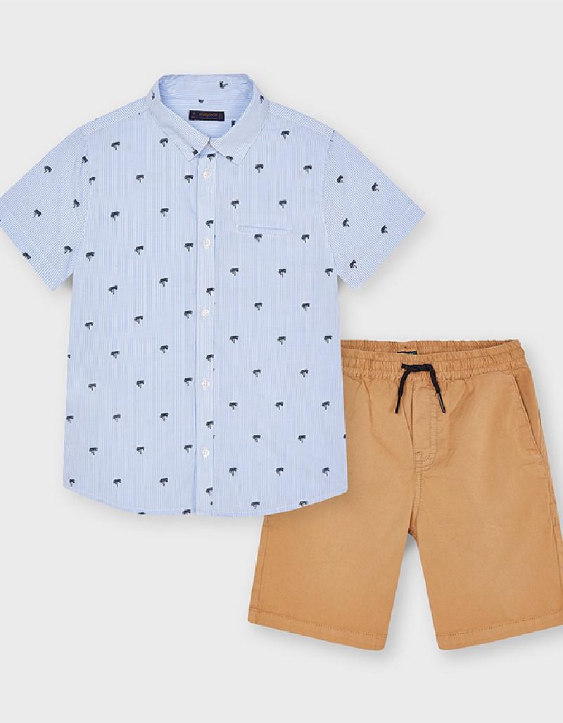 Almond Shorts And Printed Shirt Set