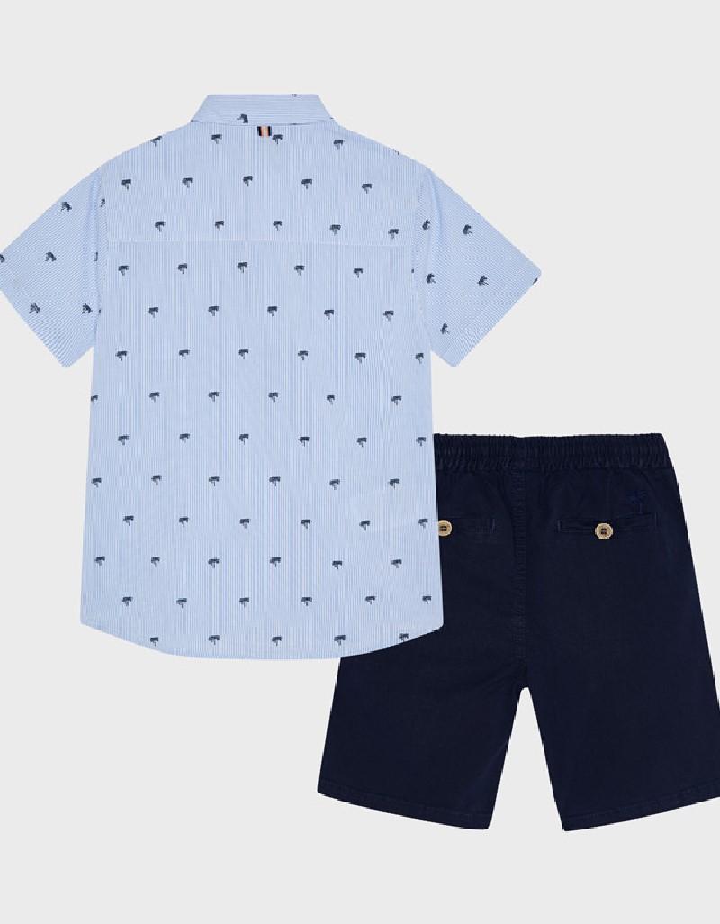 Navy Shorts And Printed Shirt Set