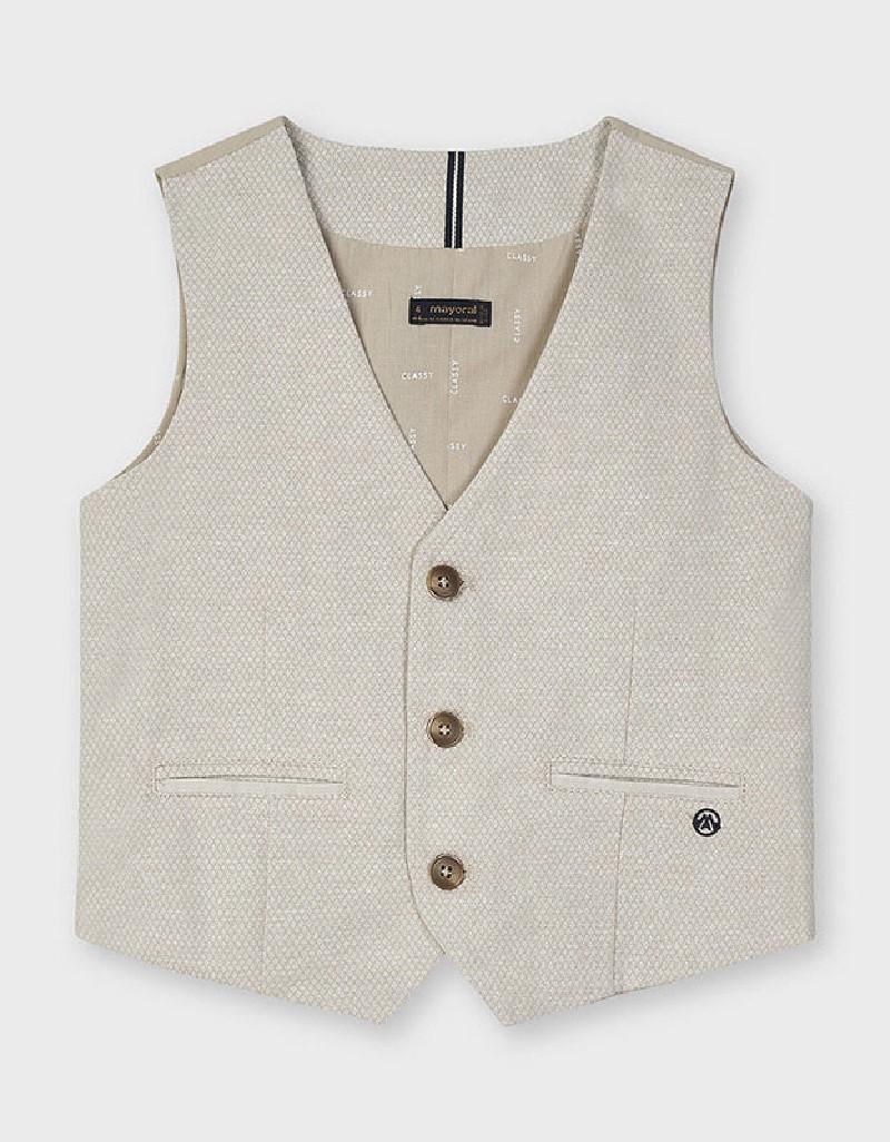 Jacq Latte Tailored Linen Vest