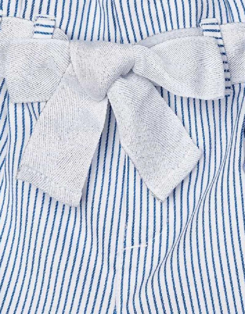Blue Striped Lurex Long Pants