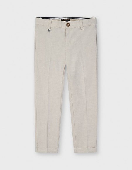 Latte Tailored Linen Trousers