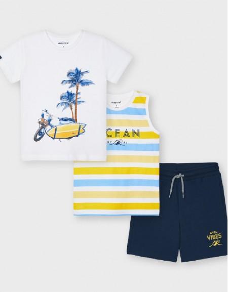 Yellow Knit Set With 2 T-Shirts
