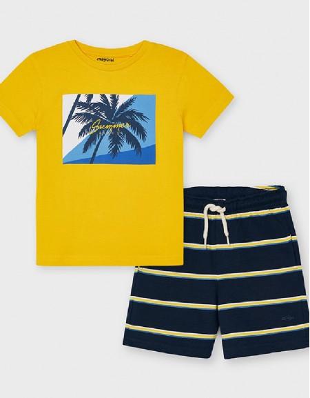 Yellow Striped Shorts Set