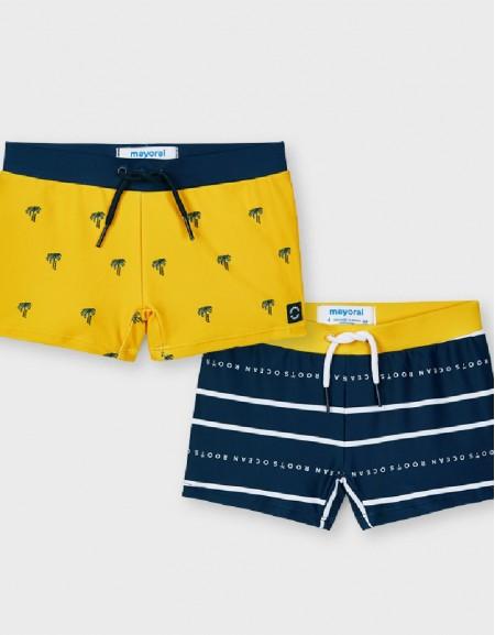 Yellow Elastic Bathing Suit Set