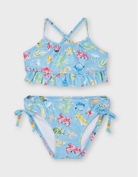 Lightblue Printed Mairmaid Bikini