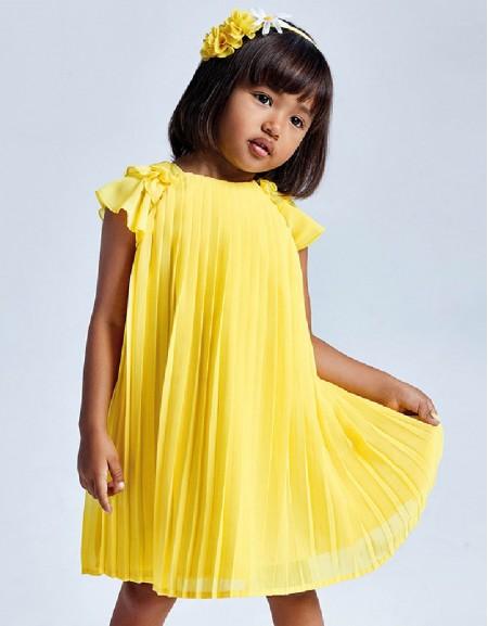 Yellow Pleated Dress