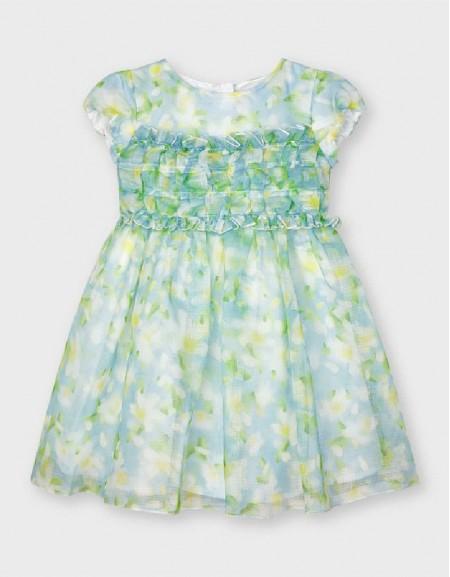Lightblue Flower Print Dress
