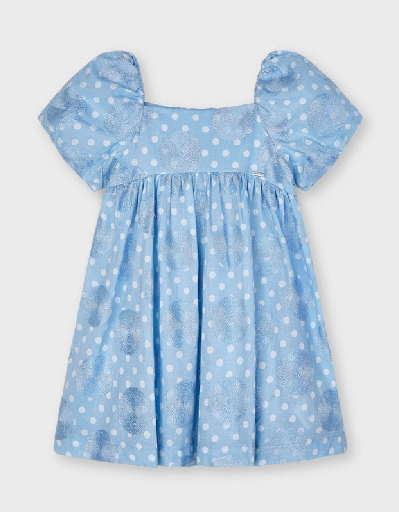 Lightblue Dotted Embroided Dress