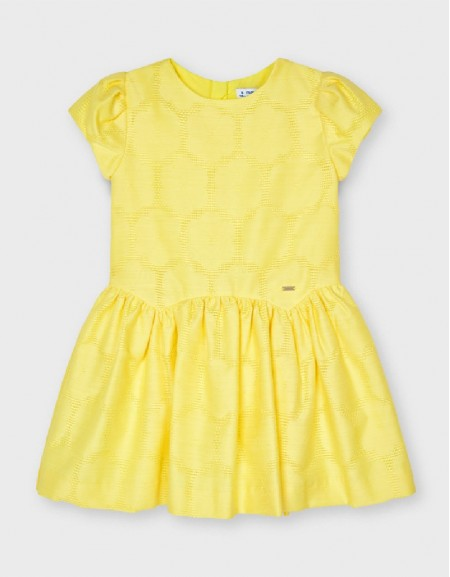 Yellow Jacquard Flower Dress