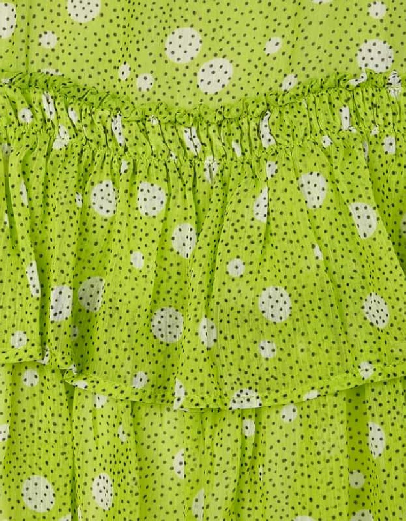 Pistachio Chiffon Spot Dress With Ruffle