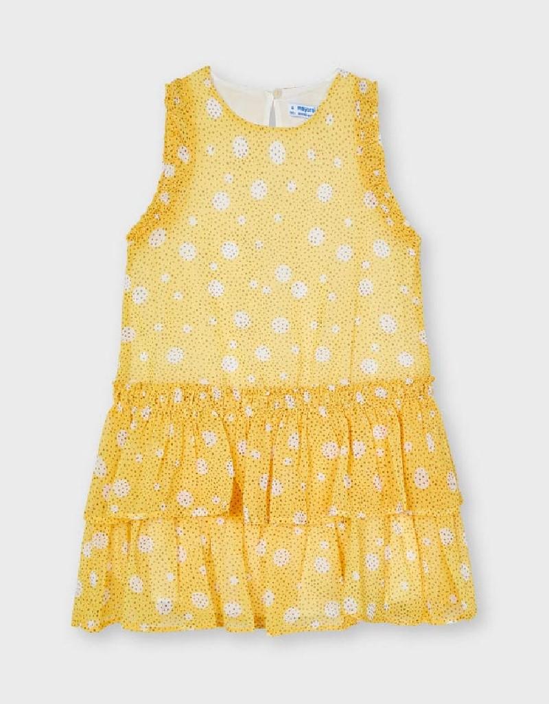Mustard Chiffon Spot Dress With Ruffle