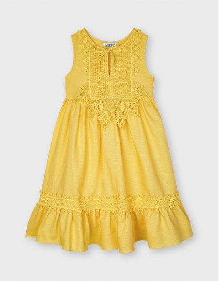 Mustard Guipure Linen Dress