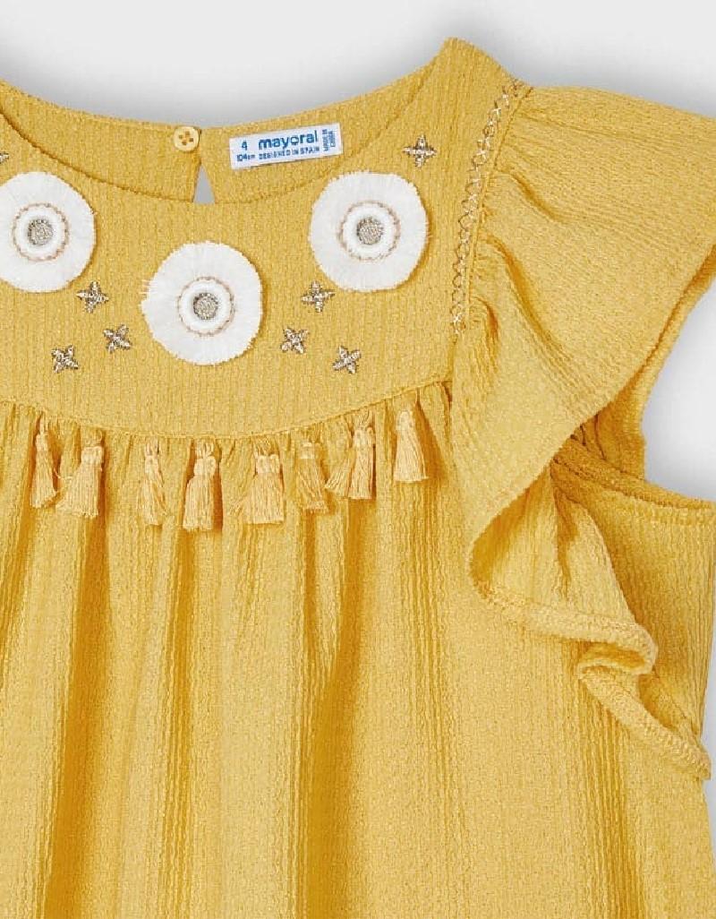 Mustard Embroided Aplique Dress