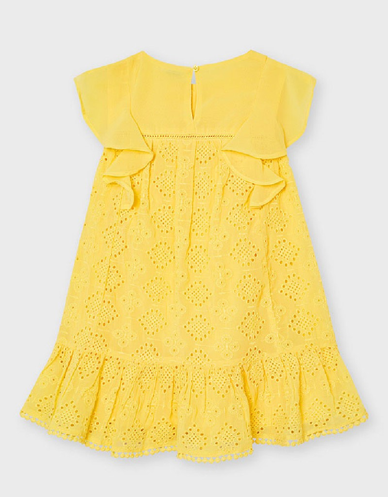 Mustard Chiffon Embroided Dress