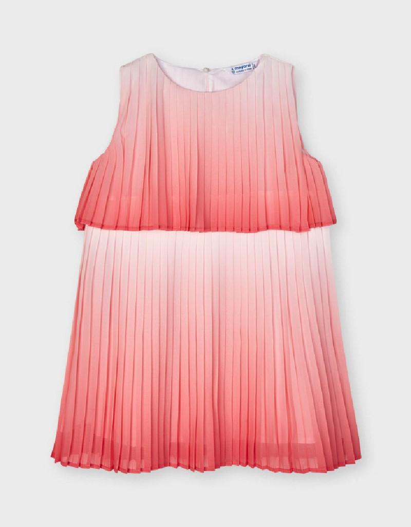 Flamingo Ombré Pleated Dress