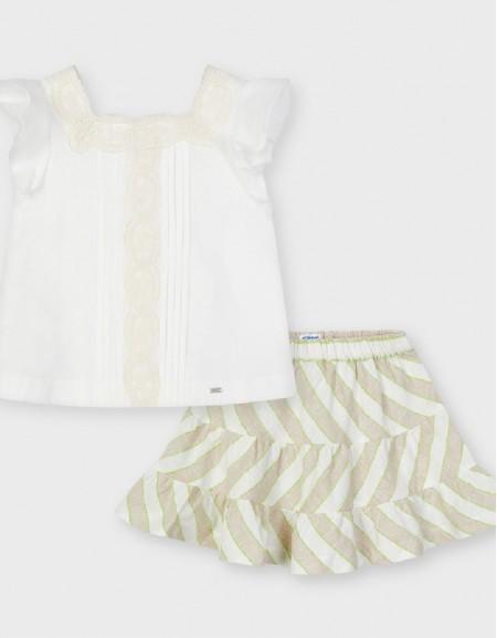 Linen Striped Linen Skirt Set