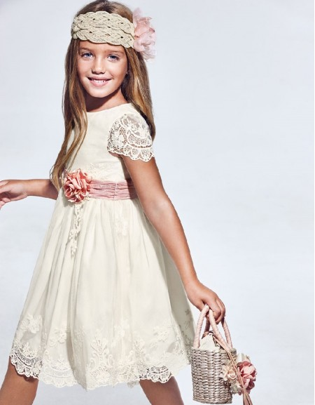 Cream Embroidered Tulle Dress