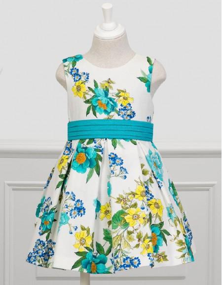 Turquoise Fancy Tulle Dress Degrade